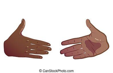 平ら, 概念, handshake., 隔離された, 2, バックグラウンド。, ベクトル, 黒, 手, 白, 前に