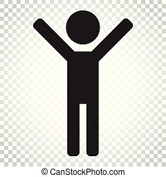 平ら, 概念, illustration., ビジネス 人々, 単純である, pictogram, 隔離された, の上, バックグラウンド。, ベクトル, 人, 手, icon., 印, 幸せ