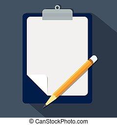 平ら, 概念, style-vector, クリップボード, デザイン, 鉛筆