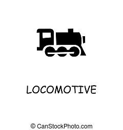 平ら, 機関車, アイコン, ベクトル