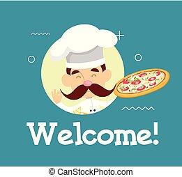 平ら, 歓迎, イラスト, シェフ, ベクトル, デザイン, 漫画, ピザ