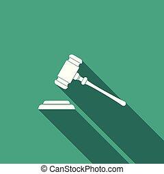 平ら, 正義, オークション, 法廷, stand., 隔離された, 長い間, 判決, ビルズ, 裁判官, ベクトル, イラスト, 文, 小槌, アイコン, ハンマー, shadow., シンボル。, design.