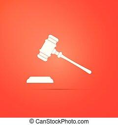 平ら, 正義, 裁判官, 法廷, stand., 隔離された, シンボル。, 判決, ビルズ, バックグラウンド。, ベクトル, イラスト, 文, 小槌, アイコン, ハンマー, オークション, 赤, design.