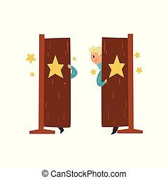 平ら, 歩くこと, 実行, stage., 芸術家, door., サーカスの トリック, ベクトル, デザイン, 微笑, 手品師, から