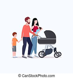 平ら, 歩くこと, 概念, 家族, 押す, 若い, 一緒に, 子供, 親であること, 長さ, フルである, 親, 楽しみ, stroller, 持つこと, 幸せ