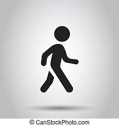 平ら, 歩くこと, 概念, illustration., ビジネス 人々, 単純である, pictogram, 隔離された, 歩きなさい, バックグラウンド。, ベクトル, icon., 印, 人