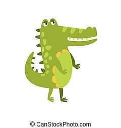 平ら, 歩くこと, 特徴, 2, 図画, ワニ, 緑, 動物, は虫類, 足, 味方, 漫画