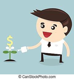 平ら, 水まき, ドル, デザイン, ビジネスマン, 植物