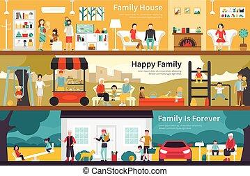 平ら, 永久に, 屋外, 家族, 網, 家, 概念, 内部, 幸せ