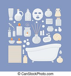 平ら, 浴室, ベクトル, セット, アイコン