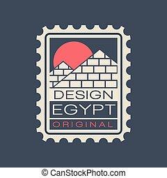 平ら, 消印, 古代, テンプレート, エジプト人, 切手, 大きい, 旅行, ピラミッド, オリジナル, 有名, ベクトル, デザイン, 建築である, landmark., sun., concept., 赤