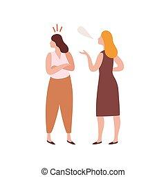 平ら, 漫画, 白, 口論, 友人, abuser, 若い, criticize, 人, バックグラウンド。, 女性, ...