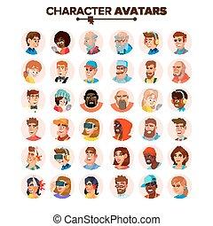 平ら, 特徴, 人々, default, avatars, コレクション, 隔離された, avatar., イラスト, vector., 漫画