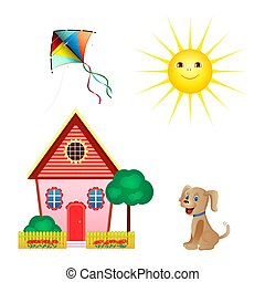 平ら, 犬, セット, style., アイコン, 凧, 白, 隔離された, バックグラウンド。, ベクトル, 太陽, 家, イラスト