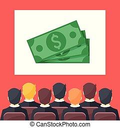 平ら, 現代部屋, ビジネス, モデル, お金, whiteboard, 人々, イラスト, image., ベクトル, 会議, concepts., プレゼンテーション, design.