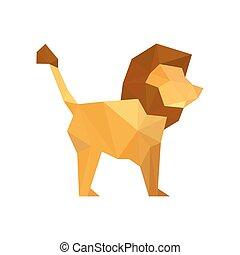 平ら, 現代, イラスト, ライオン, デザイン, origami