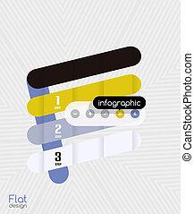 平ら, 現代, ストライプ, infographic, デザイン, 幾何学的