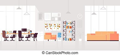 平ら, 現代, 中心, オフィススペース, だれも, 現代, 創造的, ラウンジ, 区域, 仕事場, 内部, co-working, 開いた, 横, 空