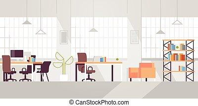 平ら, 現代, 中心, オフィススペース, だれも, 現代, 創造的, 仕事場, 内部, co-working, 開いた, 横, 空