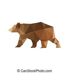 平ら, 現代, 熊, デザイン, イラスト, origami