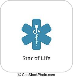 平ら, 生活, 星, icon., design.