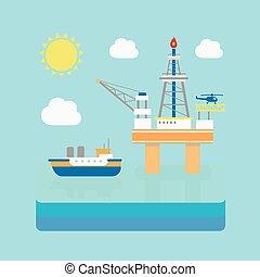 平ら, 産業, ボーリングする, ガス, プラットホーム, オイル, イラスト, 用具一式, fuel., style., sea.
