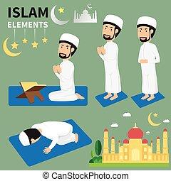 平ら, 男性, 伝統, islam., muslim, ramadan, 月, ベクトル, rituals., 宗教, イスラム教, illustration.