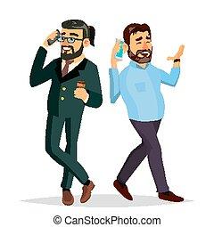 平ら, 男性, vector., オフィス, コミュニケートする, 上司, ceo., 特徴, 隔離された, イラスト, 漫画, ビジネス, 話し, 他, 友人, male., それぞれ, 同僚。, 電話