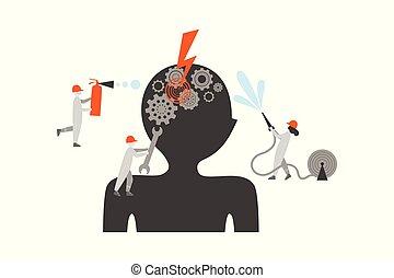 平ら, 病気, イラスト, 脳, ベクトル, 待遇