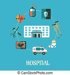 平ら, 病院, デザイン, inforgraphic