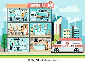 平ら, 病院, 救急車, 医学, ヘルスケア, 医院, イラスト, 患者, ベクトル, 医者, 建物