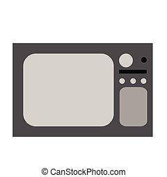 平ら, 白, tv-set, 古い, イラスト