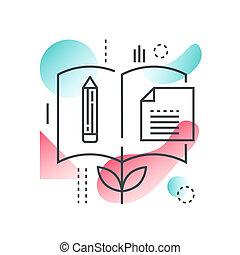 平ら, 知識, 概念, 勾配, 大学, 学校, 科学, color., ベクトル, オンラインで, 最新流行である, 線, 教育