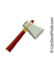 平ら, 石, 古代, illustration., 道具, 隔離された, 武器, バックグラウンド。, ベクトル, おの, 白, style.
