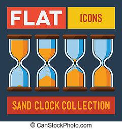 平ら, 砂, clocks, セット
