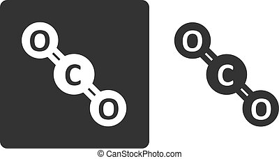 平ら, 示されている, 分子, rendering., 原子, 定型, circles., 二酸化物, 炭素,...