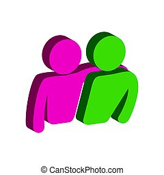 平ら, 等大, ∥あるいは∥, 友人, pictogram, モビール, 友情, infographic., ui, シンボル。, app, 網, アイコン, 3d, logo., デザイン, スタイル