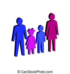 平ら, 等大, ∥あるいは∥, 親, 家族, pictogram, モビール, infographic., ui, シンボル。, app, 網, アイコン, 子供, 3d, logo., デザイン, スタイル