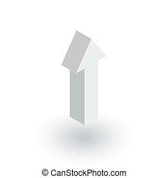 平ら, 等大, の上, ベクトル, 矢, icon., 3d