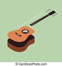 平ら, 等大, イラスト, ギター, ベクトル, デザイン, 音響