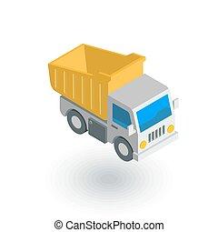 平ら, 等大, ゴミ捨て場, ベクトル, トラック, icon., 3d
