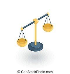 平ら, 等大, スケール, 正義, シンボル, ベクトル, icon., 法律, 3d