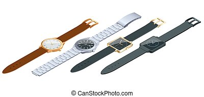 平ら, 等大, セット, illustration., concept., 腕時計, 隔離された, バックグラウンド。, ベクトル, 手首, 時間, 腕時計, 白, 3d