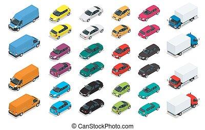 平ら, 等大, セット, transport., 自動車, 都市, icons., バン, 高く, 公衆, セダン, 貨物, 貨物 トラック, hatchback., 品質, 都市, 輸送, 3d