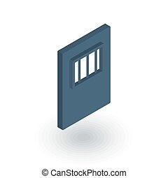 平ら, 等大, ドア, ベクトル, 刑務所, 門, icon., 3d