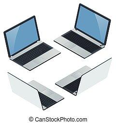 平ら, 等大, ベクトル, illustration., バックグラウンド。, ラップトップ, 白, 隔離された, 現実的, コンピュータ, 空白 スクリーン, icon., mobility., 3d