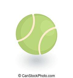 平ら, 等大, ボール, テニス, ベクトル, icon., 3d