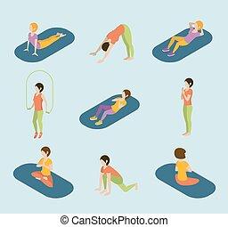 平ら, 等大, ヨガ, 網, ジム, スポーツ, infographic, 体操, vector., 女性, 試し, 練習, 3d