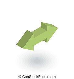 平ら, 等大, 交換, ベクトル, 矢, icon., 3d