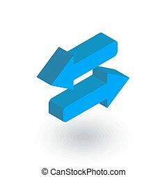 平ら, 等大, 交換, 矢, ベクトル, icon., 3d